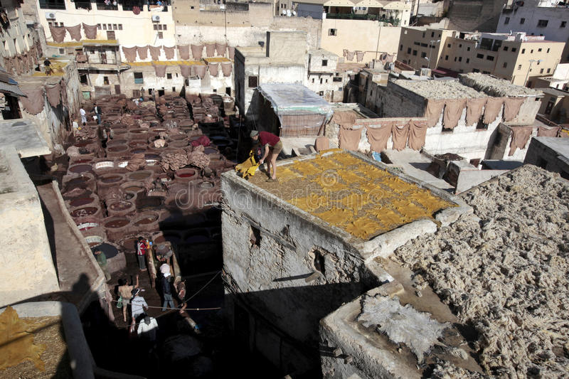 Leather Tannery, Fes Morocco stock photo