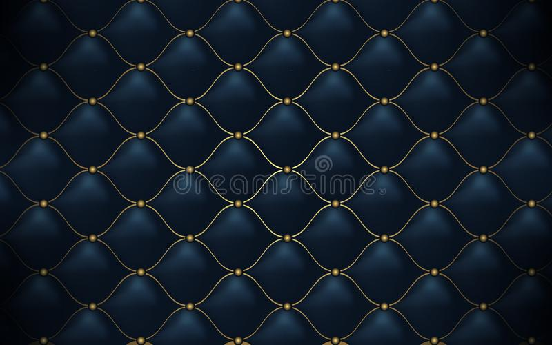 Leather texture. Abstract polygonal pattern luxury dark blue with gold. Background stock illustration