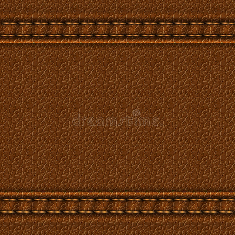 Leather texture background. Realistic leather texture with two seams. Brown leather background with stitching. Vector illustration royalty free illustration