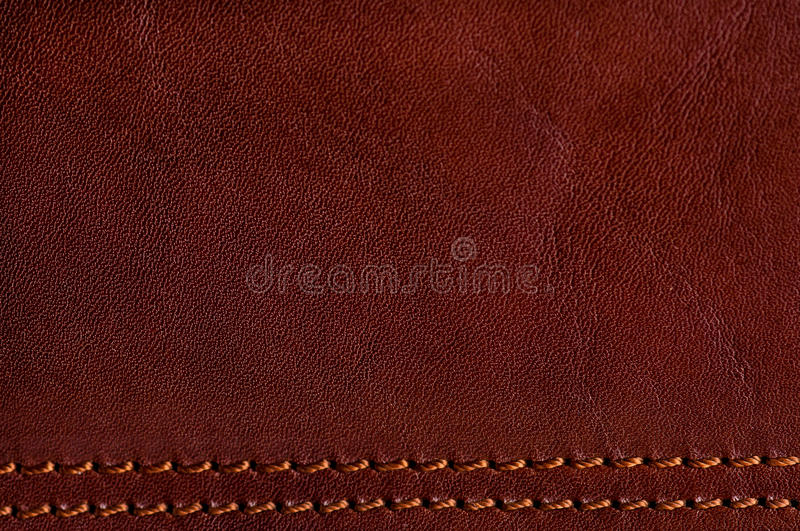 Leather texture. Leather background or textures. Close up on a leather texture with a linear stitch stock images