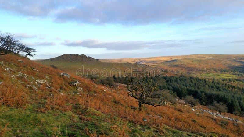 Leather Tor ,Dartmoor National Park, Devon. Winter scene over Leather Tor Dartmoor National Park, Devon stock photo