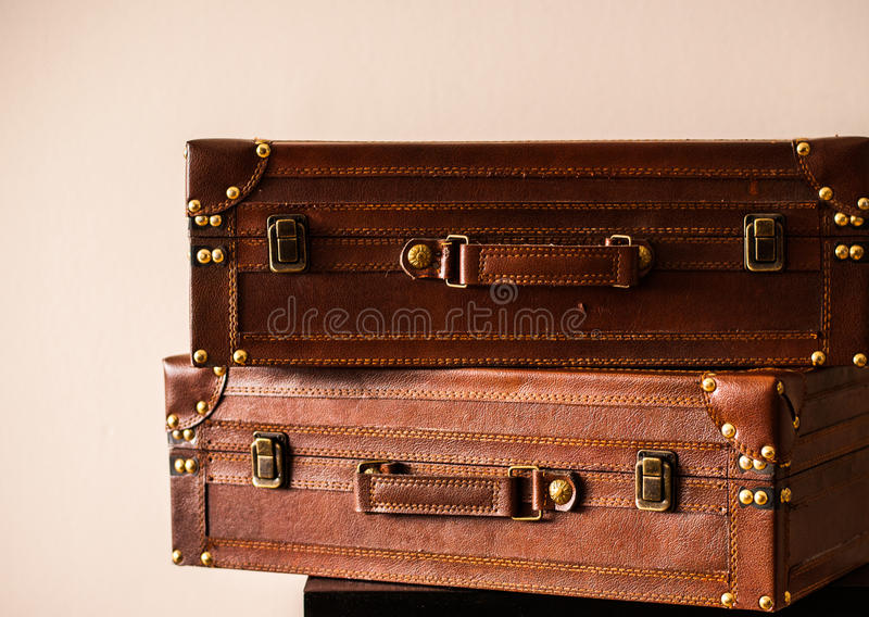Leather Trunks, Vintage. Two Leather Suitcases Stacked One on the Top of Other royalty free stock photos