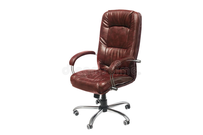 Leather upholstered office chair of claret color with trundles. Artificial leather upholstered office chair of claret color with trundles on a white background stock photography