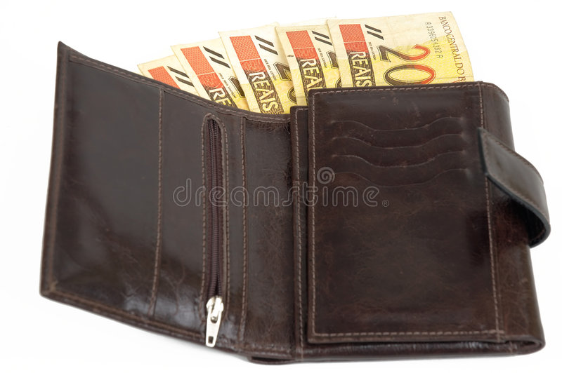 Leather Wallet. Of money with $20 brazilian real royalty free stock photography