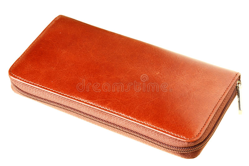 Leather wallet. Isolated over the white background stock images