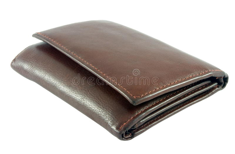 Leather wallet. Brown leather wallet isolated over white royalty free stock photography