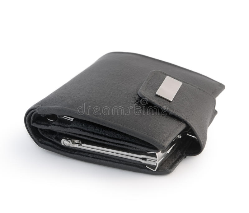 Leather wallet. Isolated on a white background stock photography