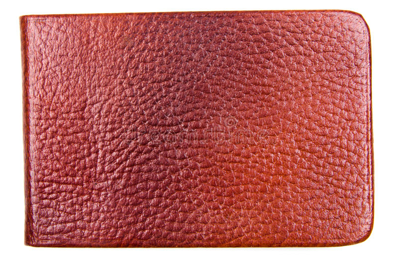 Leather Wallet. Studio shot of brown leather wallet on white background royalty free stock photos