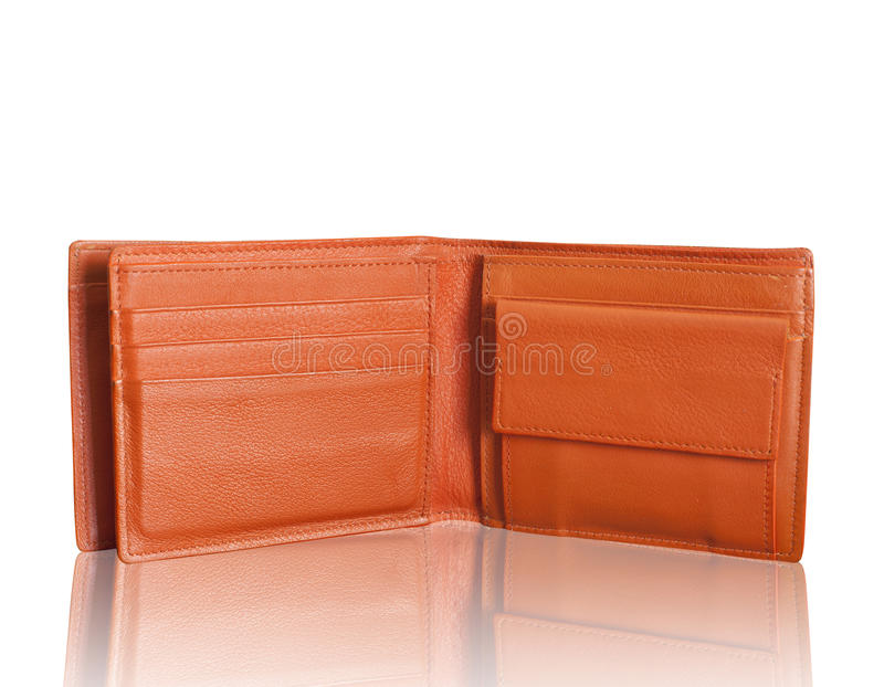 Leather wallet. Isolated on white royalty free stock image