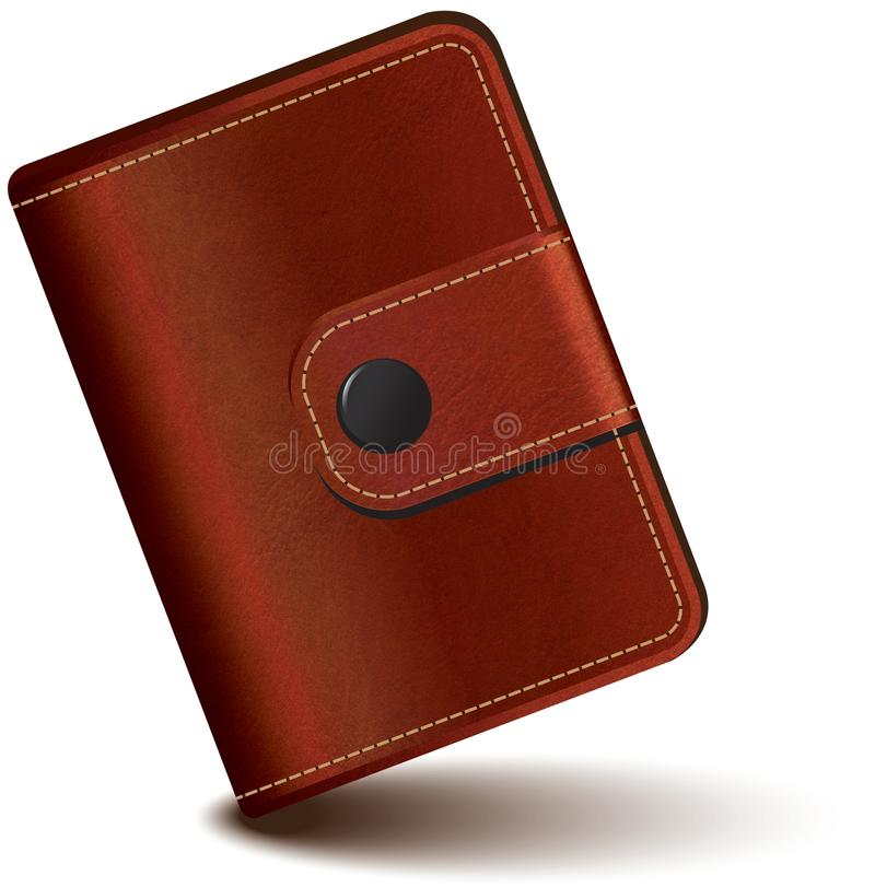 Leather wallet. Realistic brown leather wallet vector vector illustration