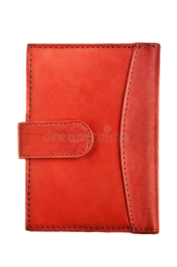 Leather wallet. Isolated on a white background royalty free stock photo