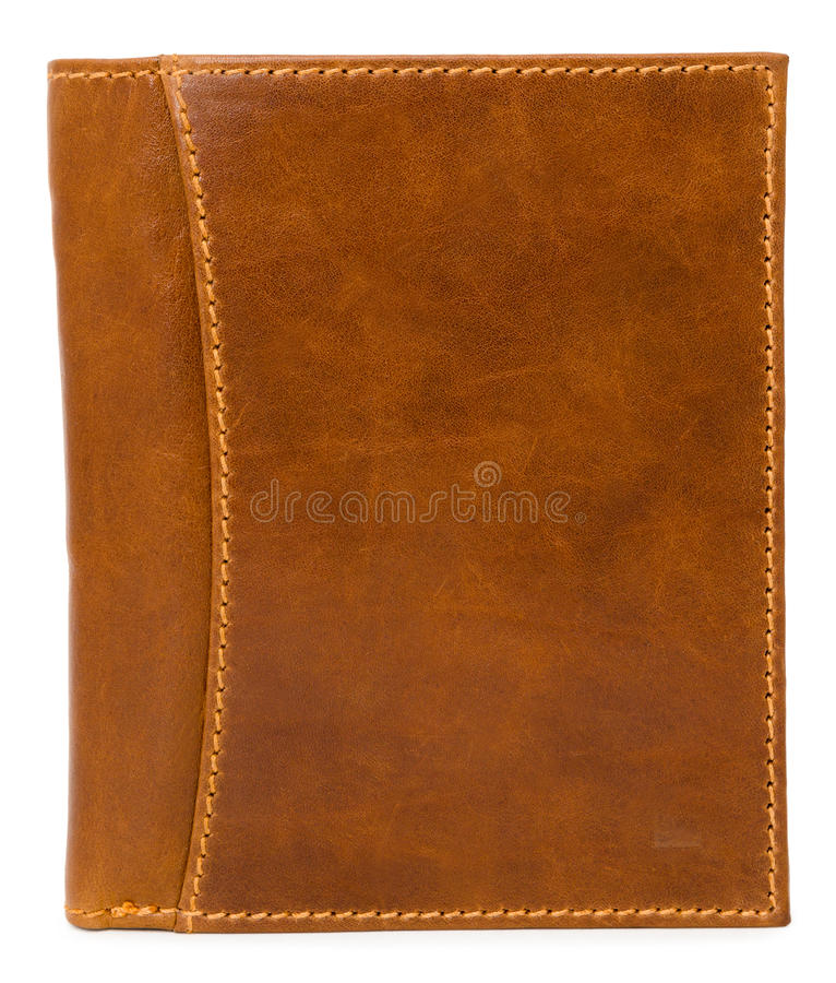 Leather wallet. A brown mens leather wallet, isolated over white royalty free stock photo