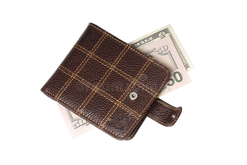 Leather wallet. With paper money stock photos