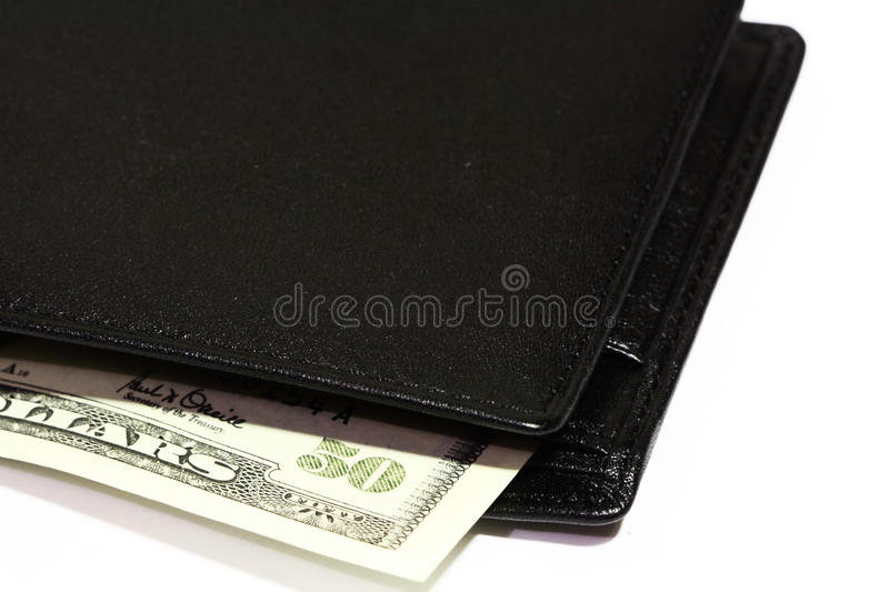 Leather Wallet and Cash. Leather wallet cash close-up isolated on white background stock images