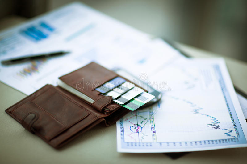 Leather wallet. With credit and discount cards stock images