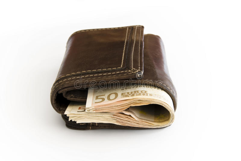 Leather Wallet with Euro Bill. Closed Leather Wallet with 50 Euro Notes looking out stock photo