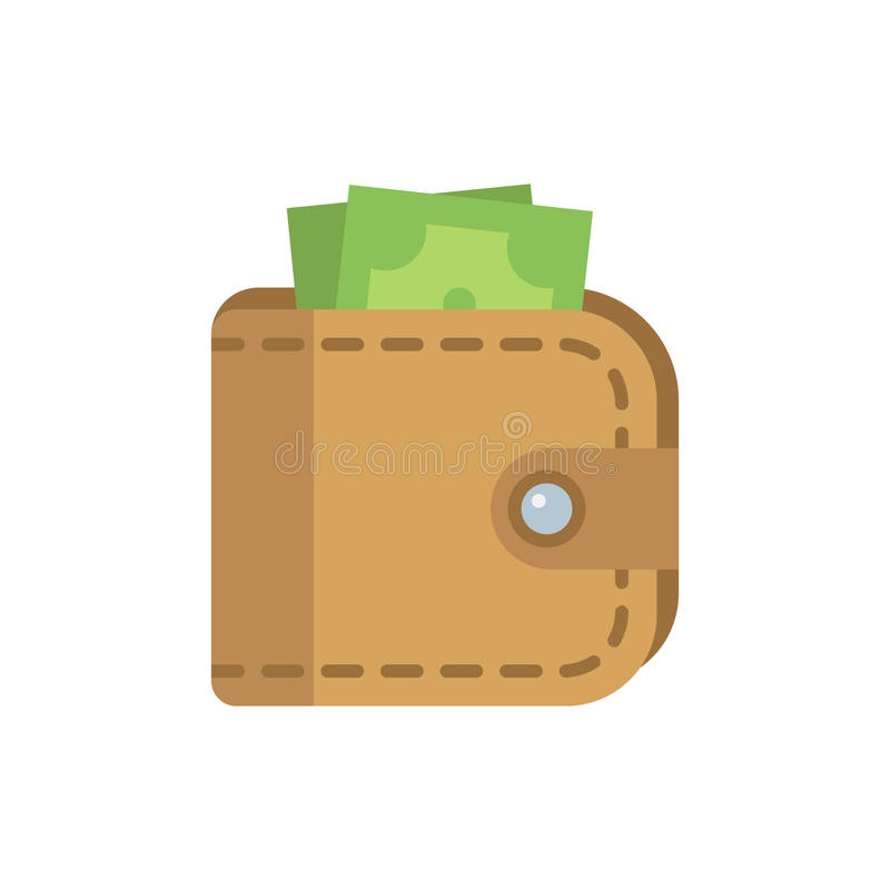 Wallet with money flat icon. Leather wallet flat illustration on white background vector illustration