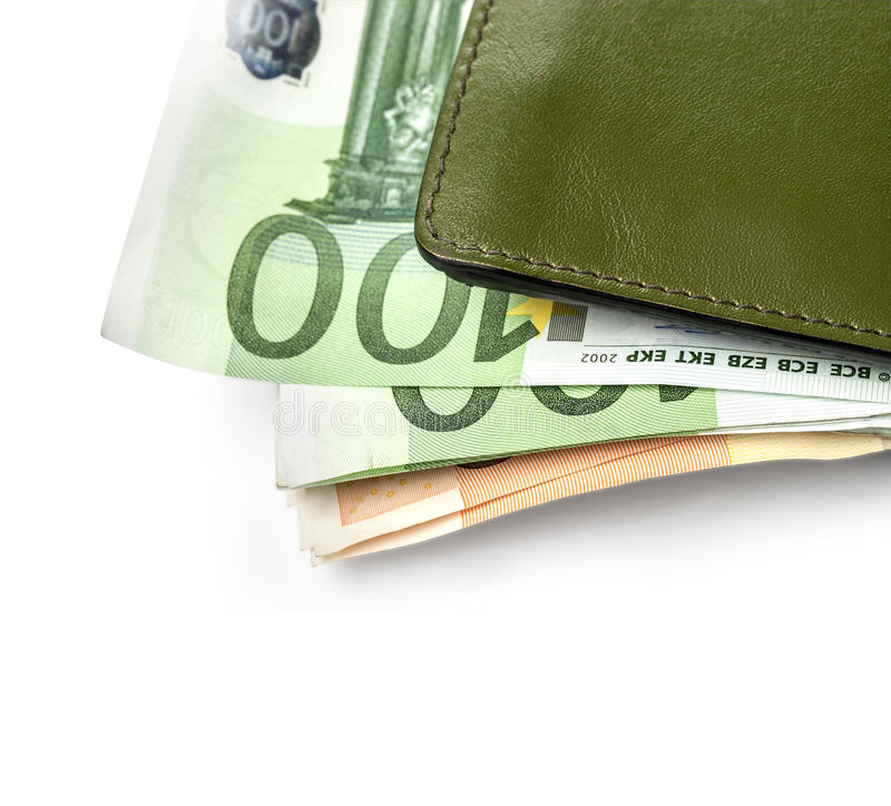 Leather wallet. Green leather wallet / purse / money pouch.with clipping path stock photo