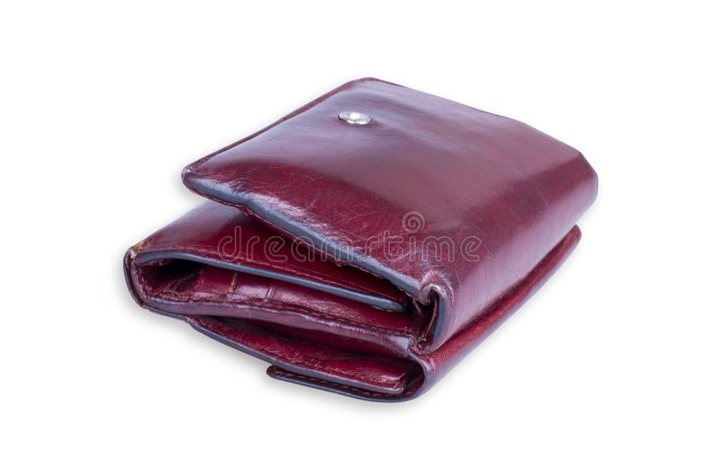 Leather Wallet Isolated. Worn out red leather wallet isolated on white background. Clipping path included stock photo