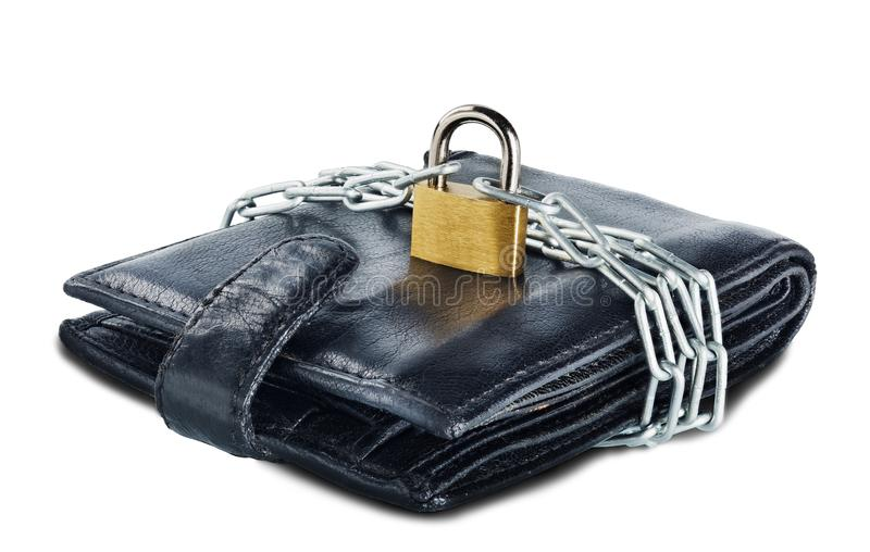 Leather wallet with lock and chain on white isolated background. Concept of protecting electronic money and safety personal financ. Es. Financial security in stock photo