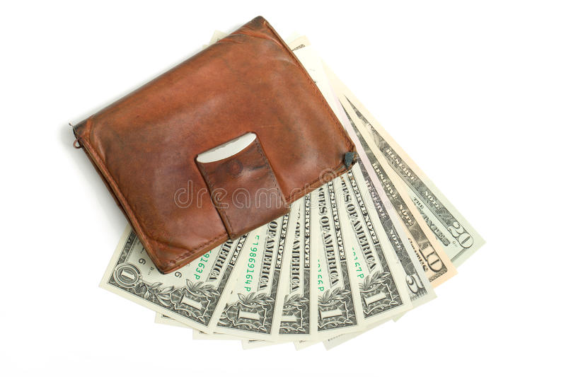 Leather wallet with money. Banknotes US dolars nominal value one, five, ten and twenty isolated on white royalty free stock image
