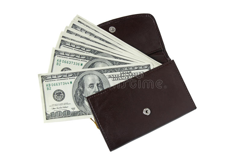 Leather wallet with one hundred dollar bills isolated on white. Brown leather wallet with one hundred dollar bills isolated on white stock photos