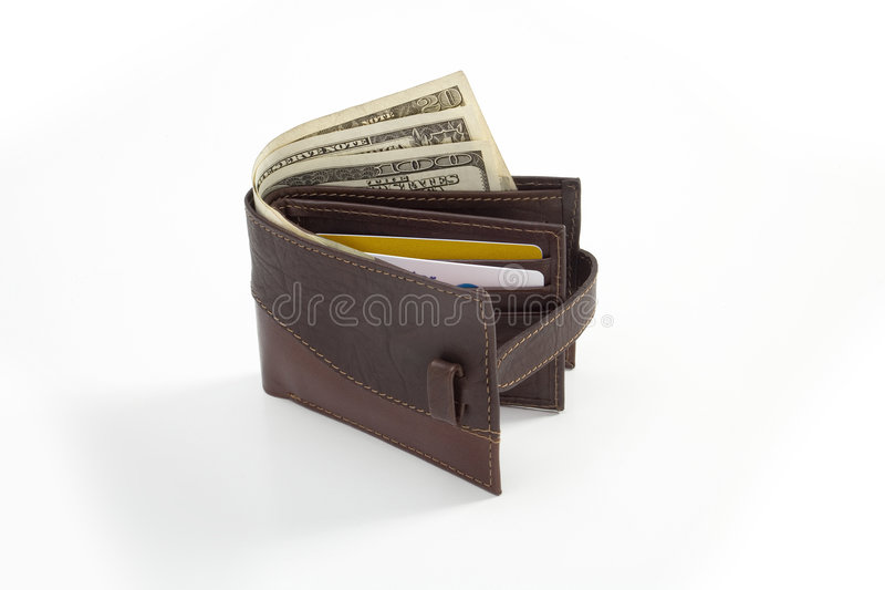 Leather wallet standing royalty free stock photos