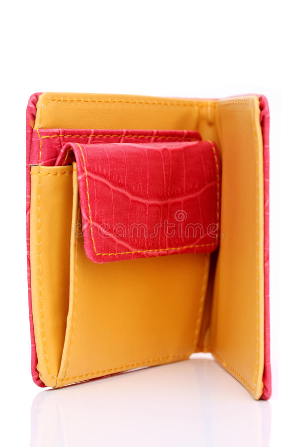 Leather wallet. On a white background stock photos