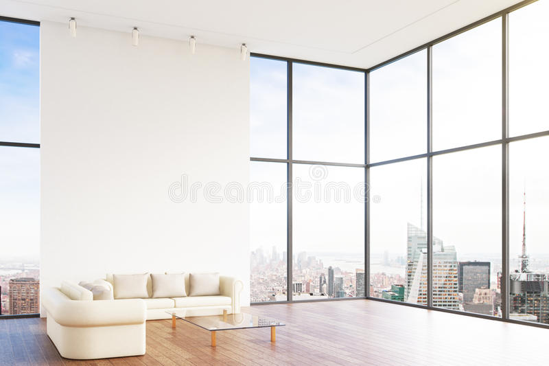 Leather white sofa in room royalty free illustration
