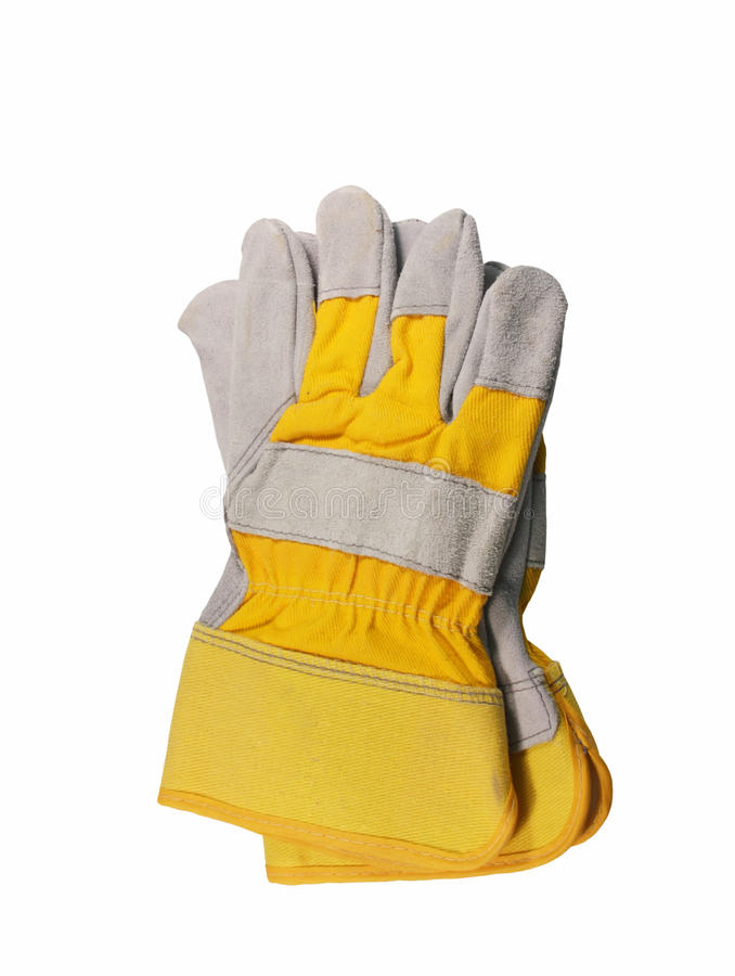 Leather work gloves isolated royalty free stock photo