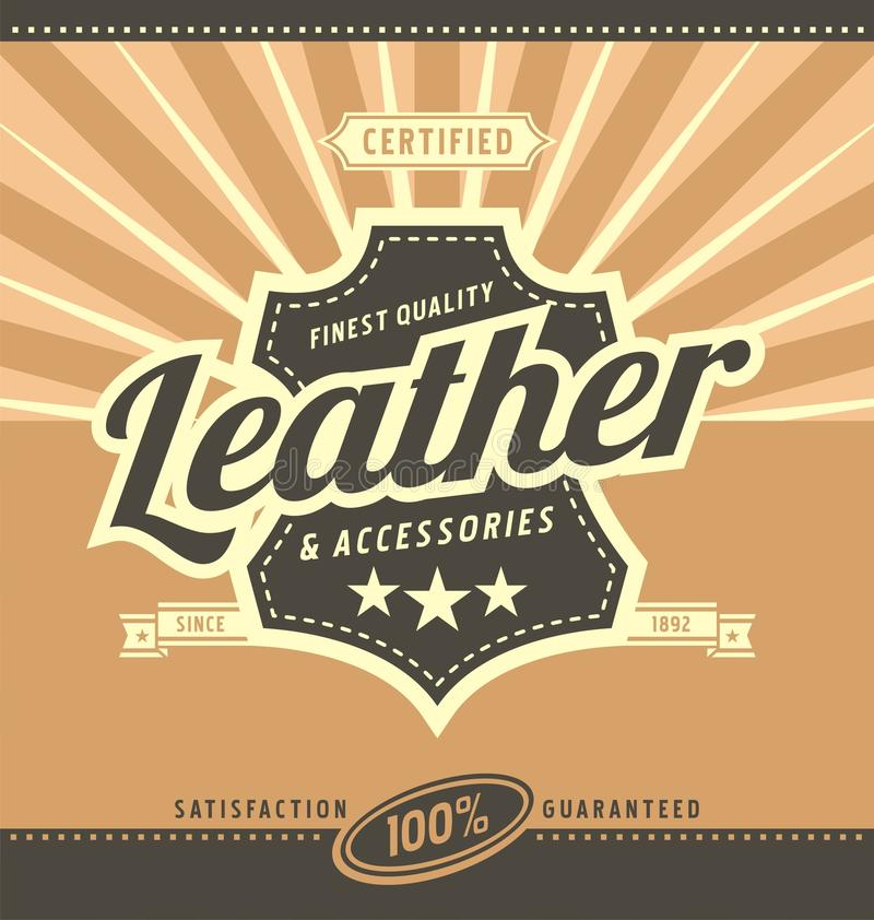 Leather work retro poster design vector illustration