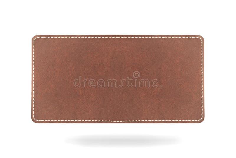 Leatherlabel στην άσπρη ανασκόπηση με το κατώτατο shado στοκ εικόνες με δικαίωμα ελεύθερης χρήσης