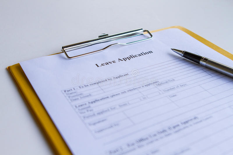 Leave Application Form. To be completed by employees royalty free stock photography