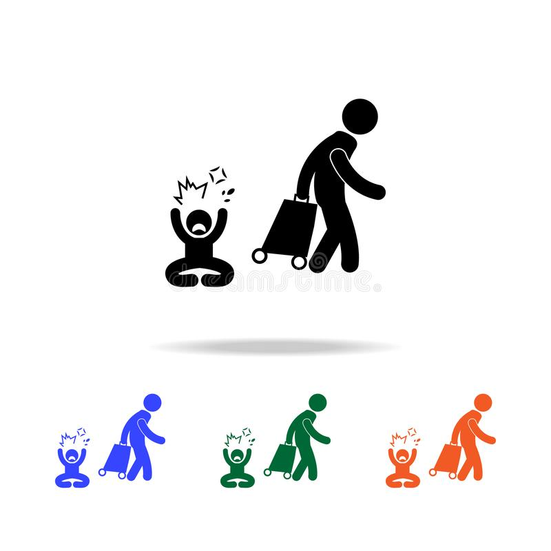 Leave the family one of the parents multicolor icons. On white background stock illustration