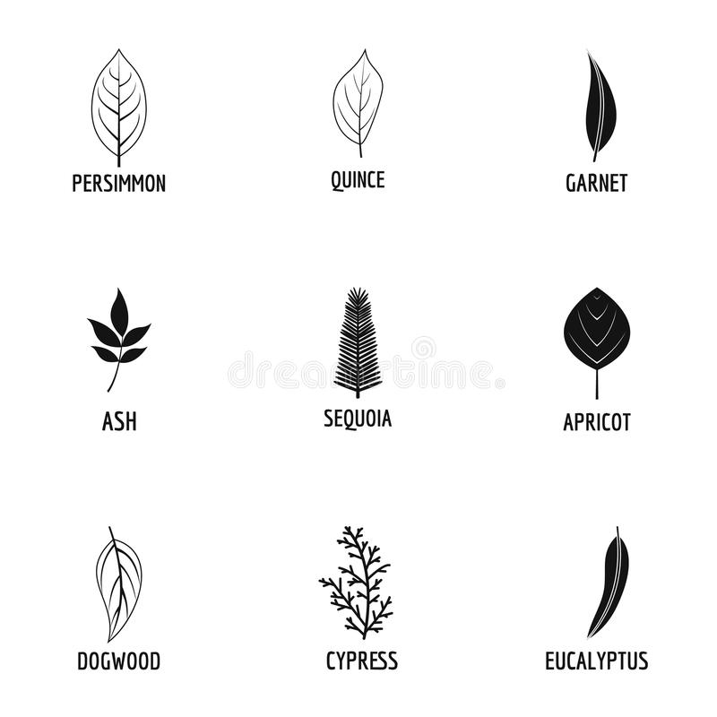 Leave icons set, simple style. Leave icons set. Simple set of 9 leave icons for web isolated on white background royalty free illustration