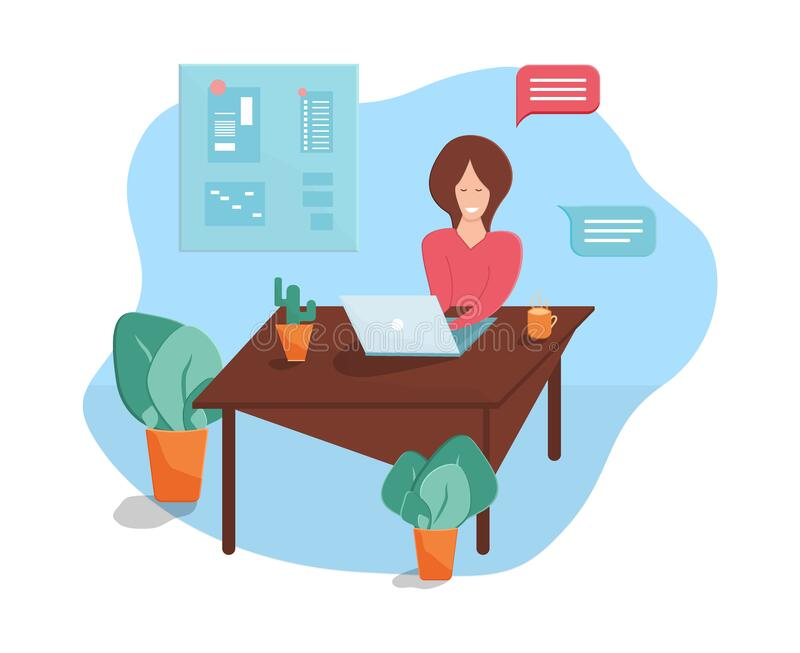 Leave to work at home or office. Woman working on laptop. Vector illustration. Leave to work at home or office. Woman working on laptop. Business correspondence stock illustration