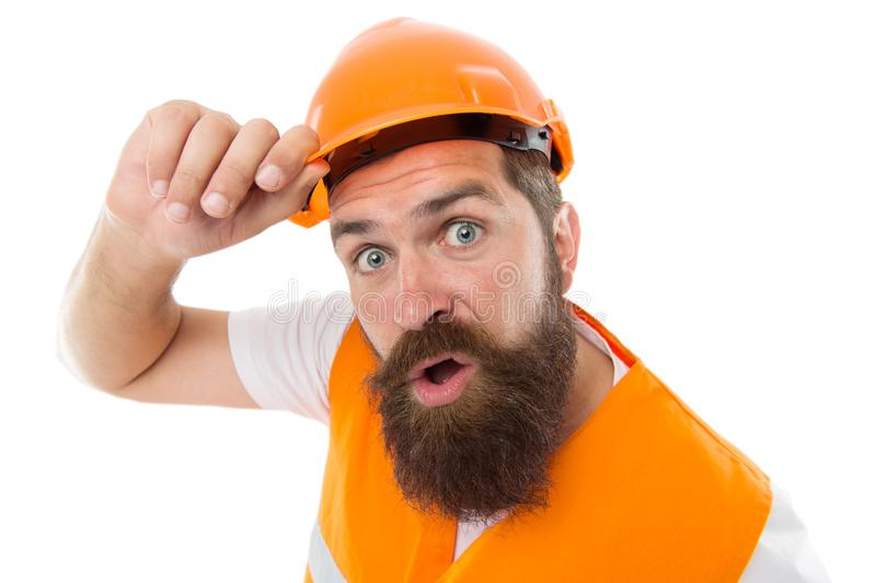 Leave the work to the professional. Bearded man workman isolated on white. Construction worker in protective work wear stock image
