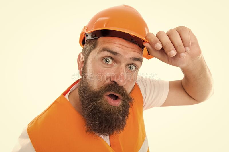 Leave the work to the professional. Bearded man workman  on white. Construction worker in protective work wear stock images