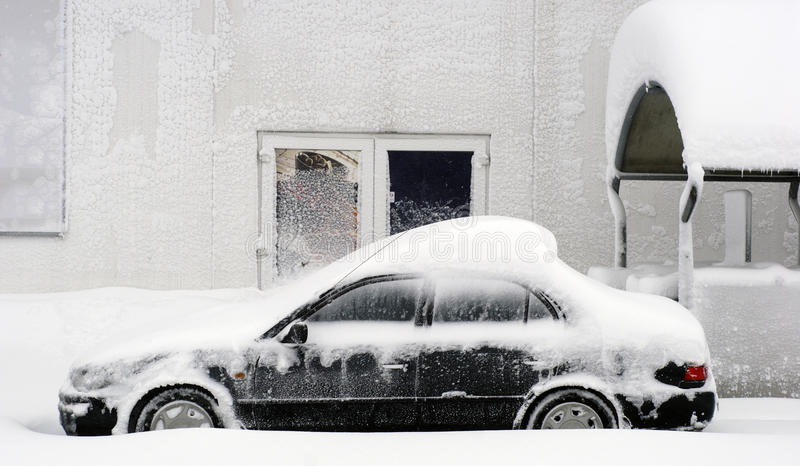 Leave your car in the snow royalty free stock photography