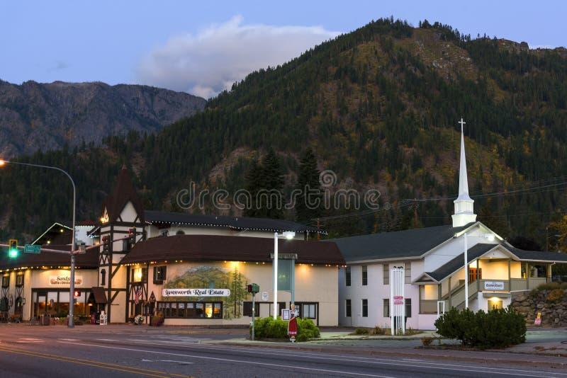 Leavenworth на зоре стоковые изображения