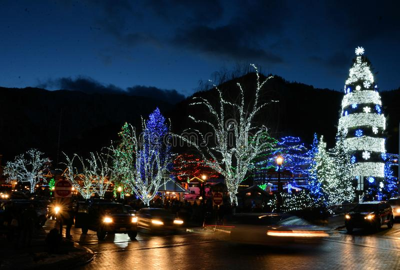 Leavenworth p? natten royaltyfri bild