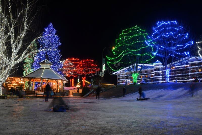 Leavenworth p? natten royaltyfri foto