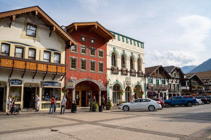 Leavenworth, Washington - July 4, 2019: Shops and restaurants in downtown Leavenworth Washington, a Bavarian German town outside royalty free stock photography