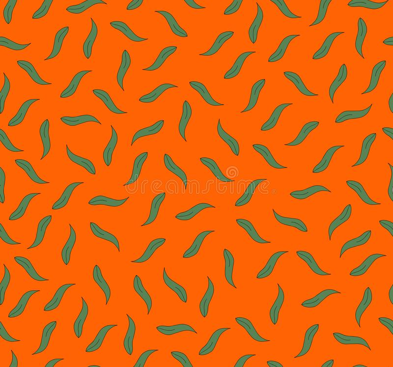 Green leaves on orange background royalty free stock images