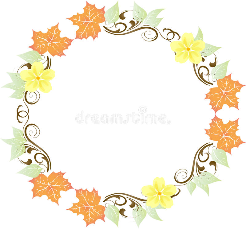 Free Leaves And Flowers Wreath Royalty Free Stock Image - 10052556