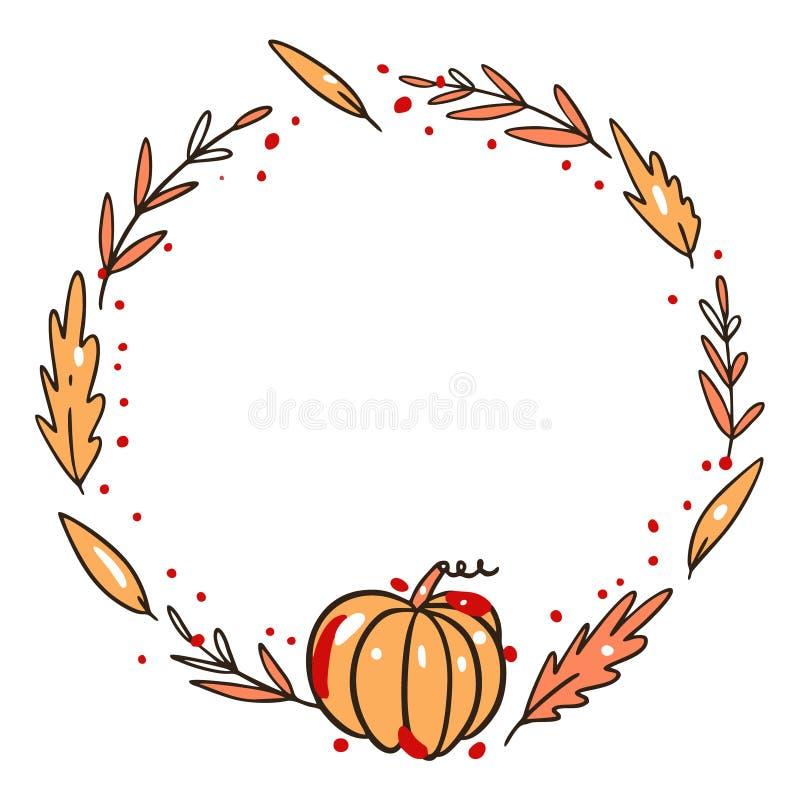 Leaves autumn frame hand drawn vector illustration. Isolated on white background. vector illustration