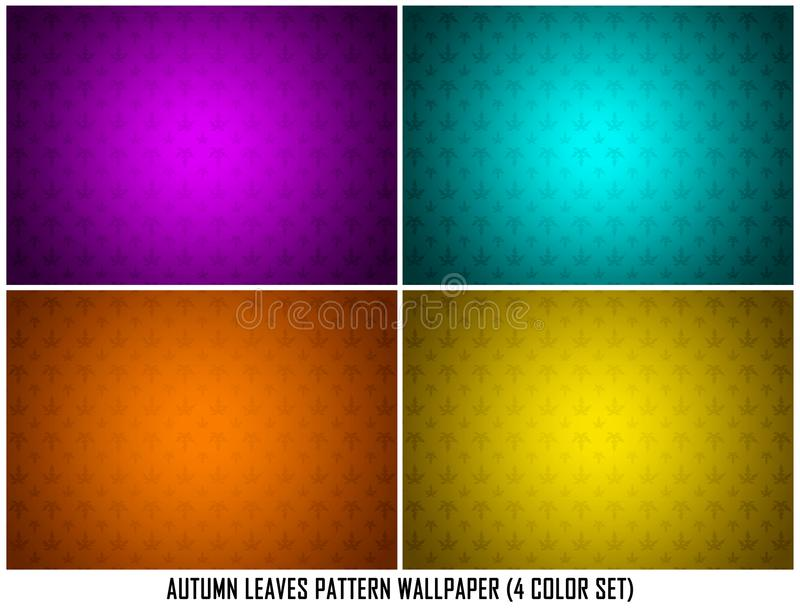 Leaves Autumn Spring in 4 Color Set Purple Cyan Orange Yellow Ornamental Pattern Texture Background Wallpaper royalty free illustration