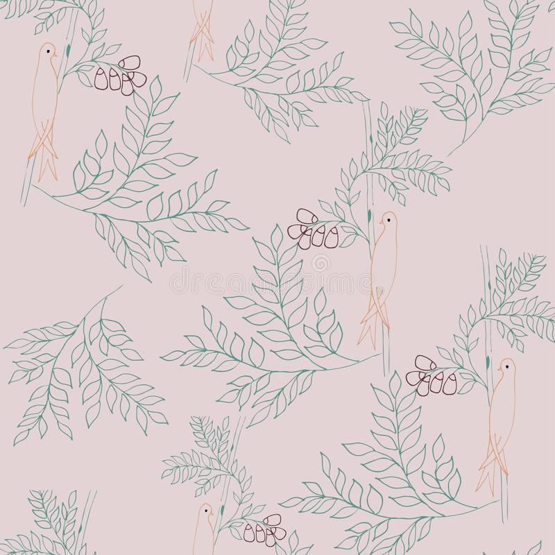 Leaves and birds seamless pattern vector illustration