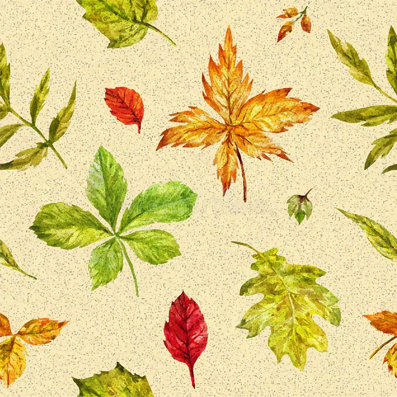 Watercolor autumn seamless background with bright leaves. Leaves and blade of grass isolated on white. Autumn elements painted by hand in watercolor stock illustration
