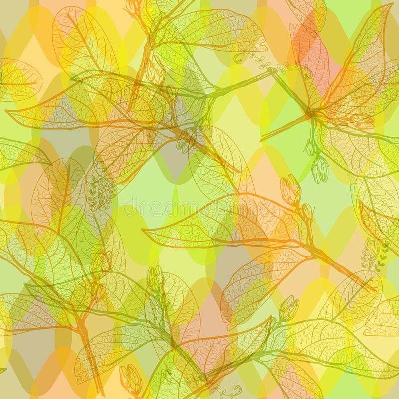 Leaves contours, bright orange yelow green modern trendy floral seamless pattern, hand-drawn. abstract background for site, blog, stock illustration